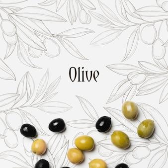 Olives savoureuses avec maquette
