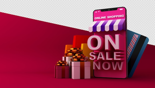 Online shopping application mobile dans le rendu 3d