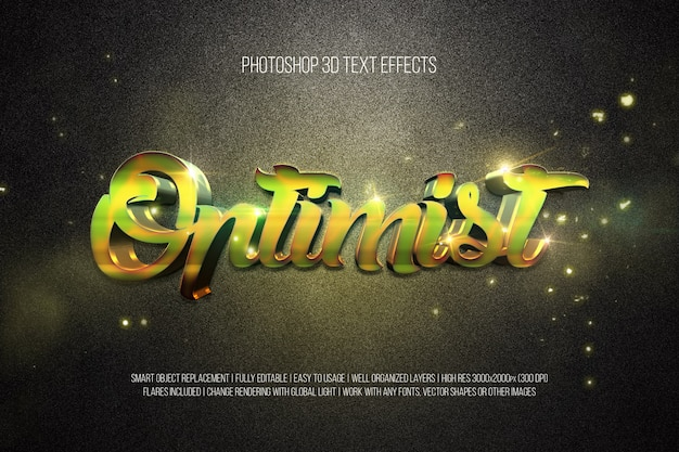Optimiste des effets de texte 3d photoshop