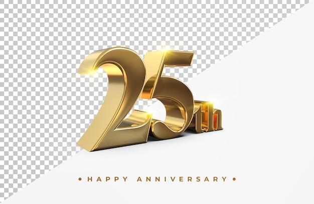 Or 25e joyeux anniversaire rendu 3d isolé