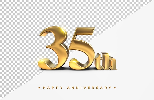 Or 35e joyeux anniversaire rendu 3d isolé