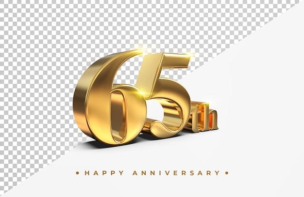 Or 60e joyeux anniversaire rendu 3d isolé