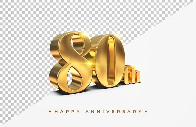Or 80e joyeux anniversaire rendu 3d isolé