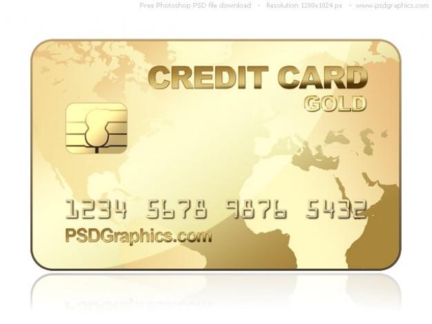 Or psd modèle de carte de crédit