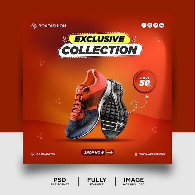 Orange couleur chaussures marque produit médias sociaux post bannière
