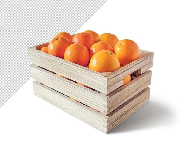 Oranges dans une boîte en bois, modèle