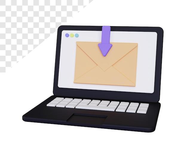 Ordinateur portable 3d avec rendu de courrier isolé