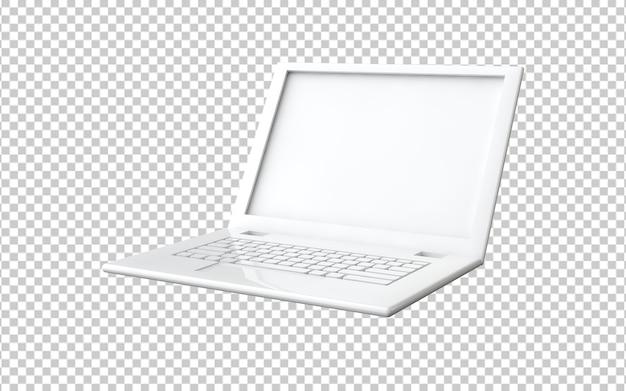 Ordinateur portable blanc isolé dans le rendu 3d