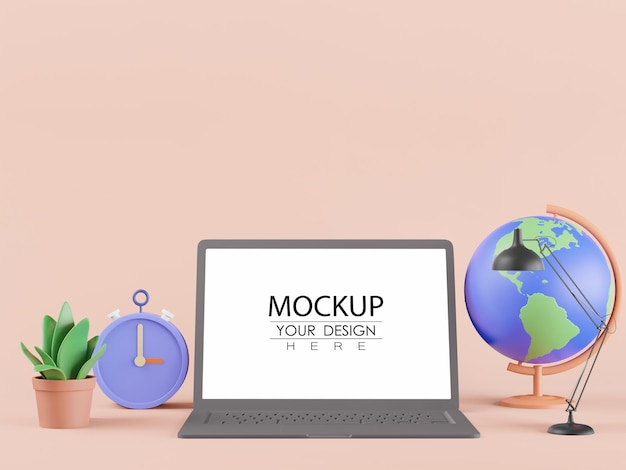 Ordinateur portable à écran blanc avec globe terrestre, lampe, horloge et plante