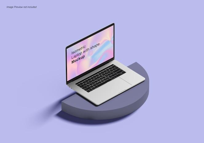 Ordinateur portable isométrique avec maquette de forme