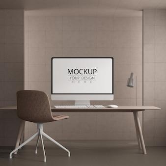 Ordinateur sur table dans l'espace de travail mockup psd
