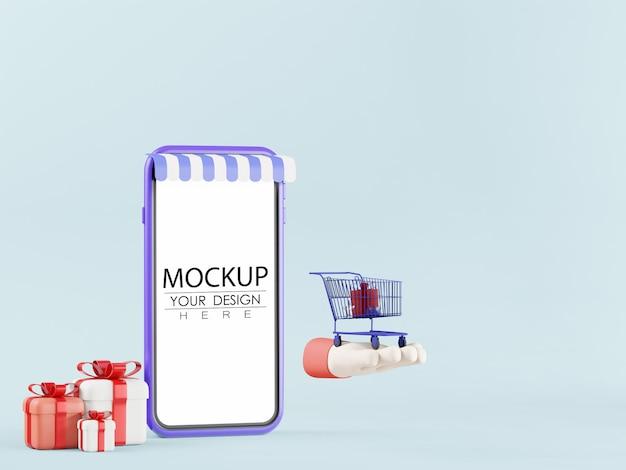 Ordinateur de téléphone intelligent à écran blanc avec maquette d'élément psd