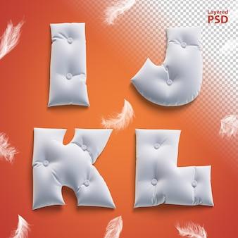 Oreiller lettres 3d avec des plumes. i, j, k, l.