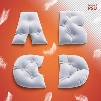 Oreiller lettres 3d avec des plumes. lettre a, b, c, d.