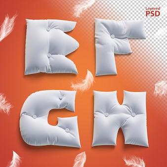 Oreiller lettres 3d avec des plumes. lettre e, f, g, h.