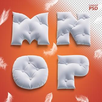 Oreiller lettres 3d avec des plumes. lettre m, n, o, p.