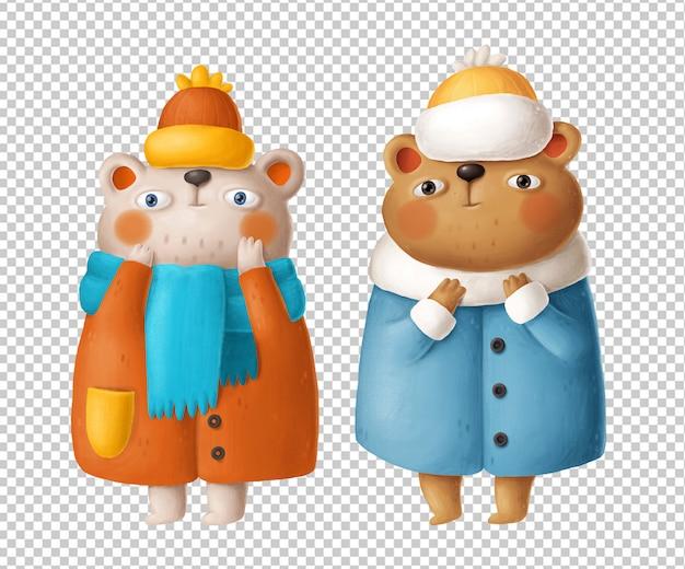 Ours mignons dans des vêtements d'hiver