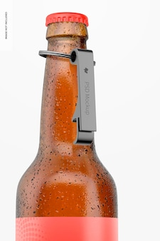 Ouvre-bouteille en aluminium sur maquette de bouteille