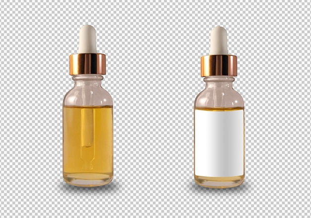 Pack de flacon compte-gouttes isolé avec étiquette blanche