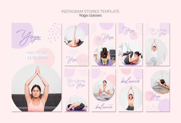 Pack d'histoires de cours de yoga sur instagram
