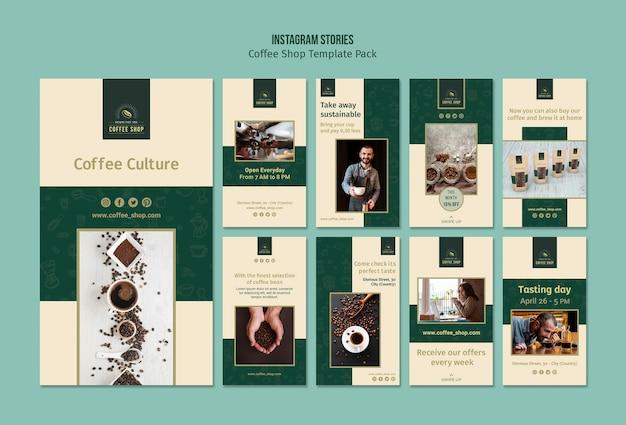 Pack d'histoires instagram de bannière de café