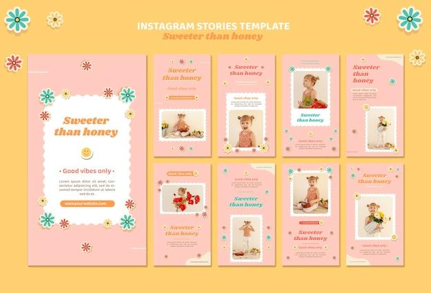 Pack d'histoires instagram pour les enfants avec des fleurs