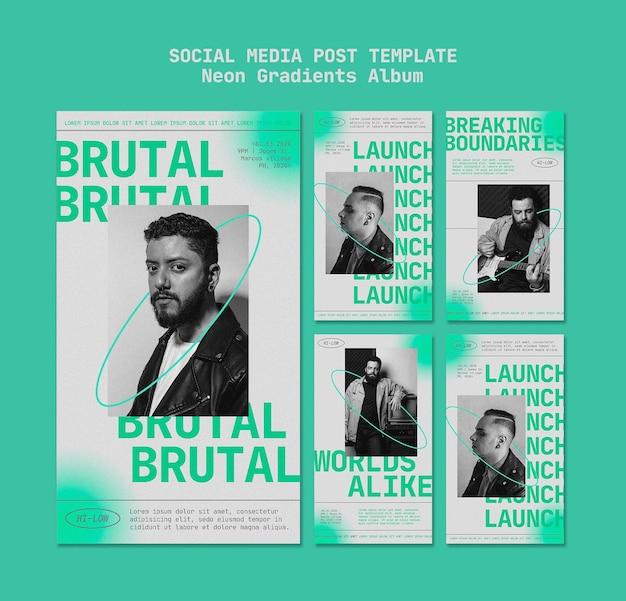Pack d'histoires instagram pour musicien masculin avec des dégradés de néon