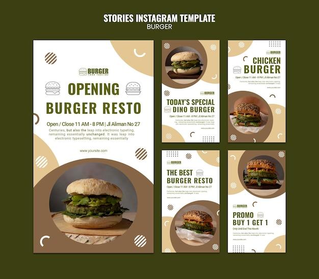 Pack d'histoires instagram pour un restaurant de hamburgers