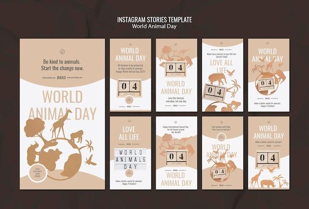 Pack d'histoires sur les réseaux sociaux de la journée mondiale des animaux