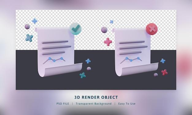 Pack d'icônes de rendu 3d envoyer la feuille de données du papier a échoué et succès pour envoyer la couleur