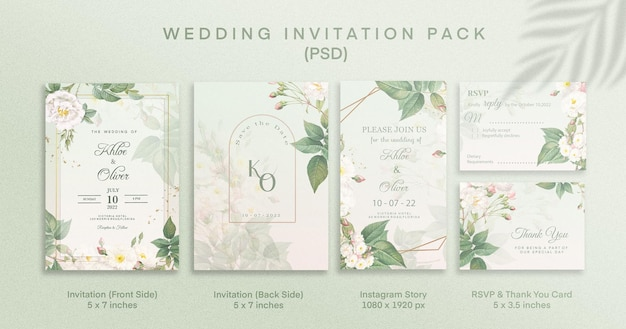 Pack d'invitation de mariage vert avec rsvp merci et histoire instagram