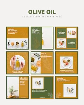 Pack de modèles de médias sociaux à l'huile d'olive
