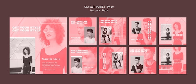 Pack de publications instagram pour le magazine de style électronique