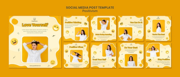 Pack de publications instagram pour le positivisme avec une femme heureuse