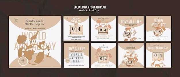 Pack de publications sur les réseaux sociaux de la journée mondiale des animaux