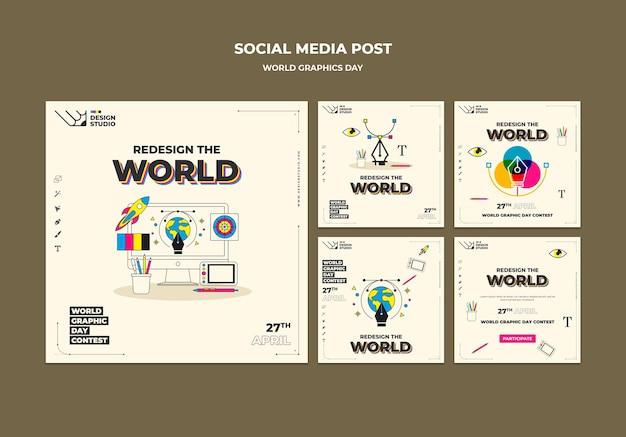 Pack de publications sur les réseaux sociaux de la journée mondiale du graphisme