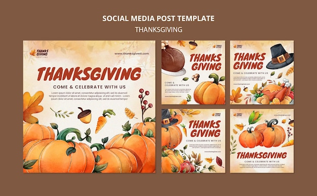 Pack de publications sur les réseaux sociaux pour thanksgiving à l'aquarelle