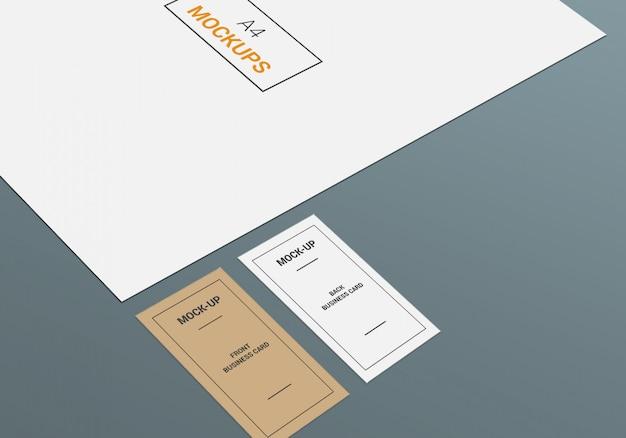 Page a4 et maquette de carte de visite
