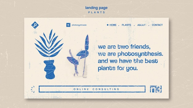 Page d'atterrissage de divers types de plantes d'intérieur