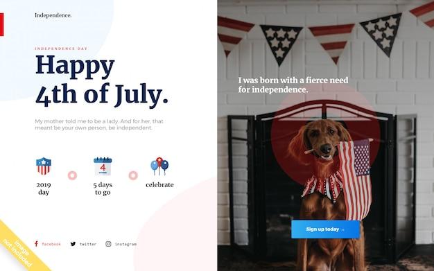 Page d'atterrissage de la fête de l'indépendance