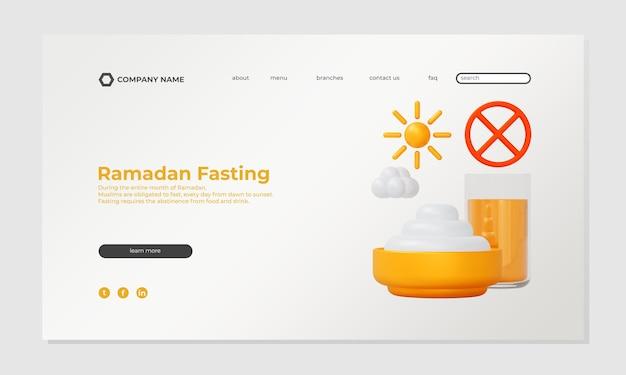 Page d & # 39; atterrissage de jeûne du ramadan avec modèle d & # 39; illustration 3d