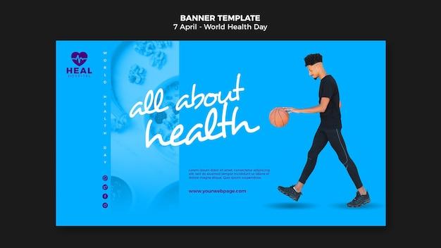 Page de bannière horizontale de la journée mondiale de la santé avec photo