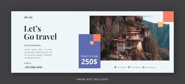 Page de couverture facebook de voyage et modèle de conception de bannière web