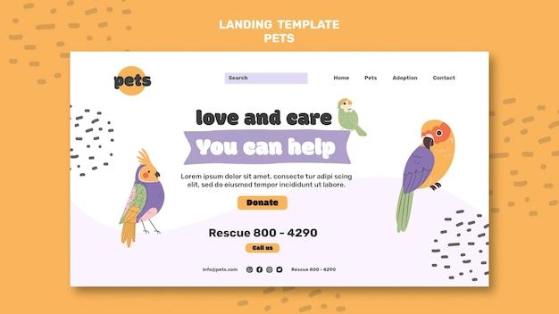 Page de destination de l'adoption des animaux de compagnie
