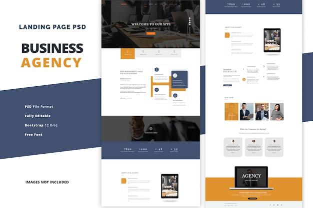 Page de destination de l'agence commerciale pour les services financiers et d'investissement
