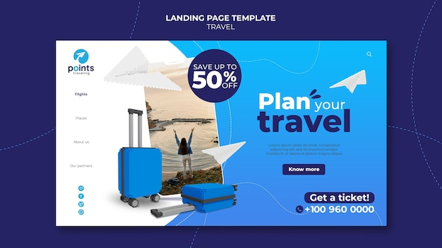 Page de destination de l'agence de voyage