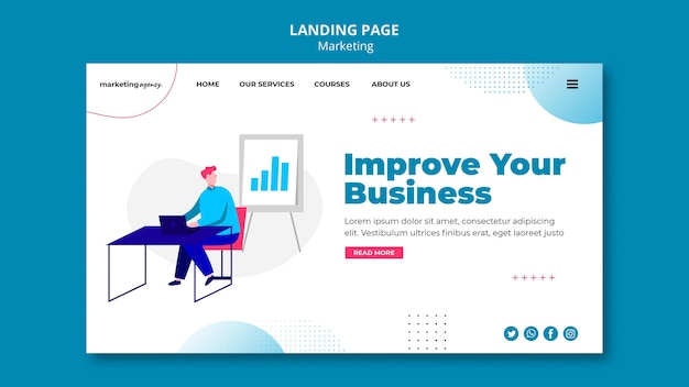 Page de destination d'amélioration commerciale
