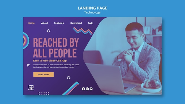 Page de destination de l'application de communication