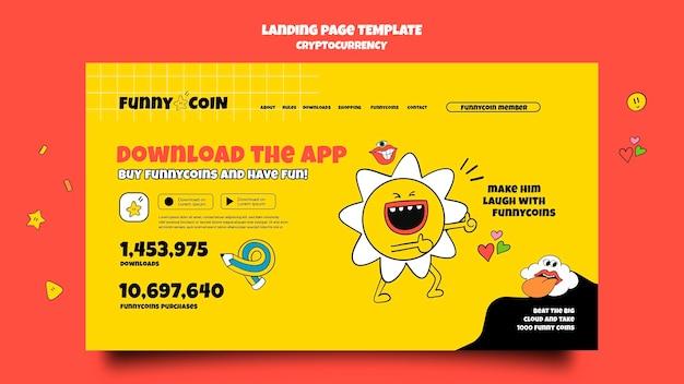 Page de destination de l'application de crypto-monnaie