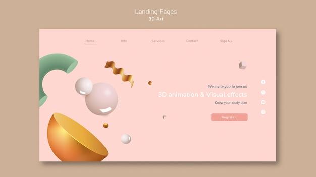 Page de destination de l'art 3d